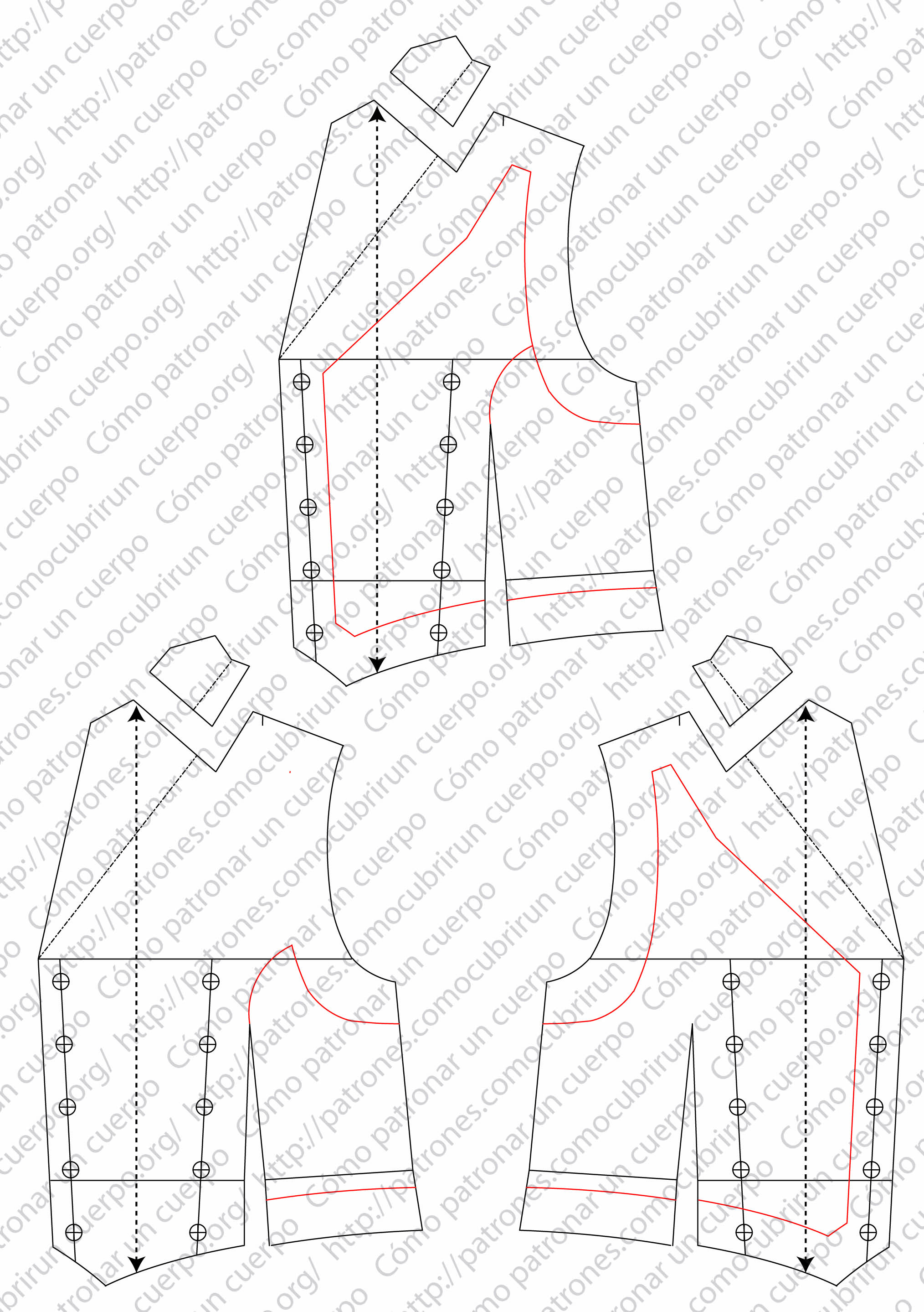 Patrón del chaleco cruzado. ModX2013001131113